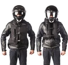 Motorcycle Airbag safety vests and jackets to reduce injury in a crash