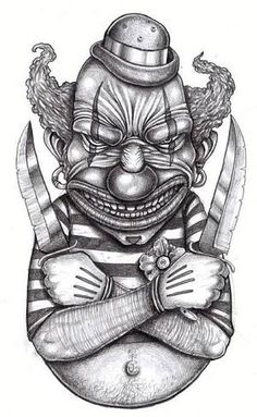 locate and keep the latest tattoo trends, from hand poked best pal tattoos, black and white pieces to lustrous flower motifs or Japanese tat. Flash Art Tattoos, Clown Horror, Arte Horror, Evil Clowns, Scary Clowns, Kunst Tattoos, Tattoo Drawings, Joker Drawings, Evil Clown Pictures