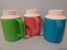 Vintage Retro 1970s Decor 3 Slushy Mugs-freeze & enjoy cold drinks on a hot day