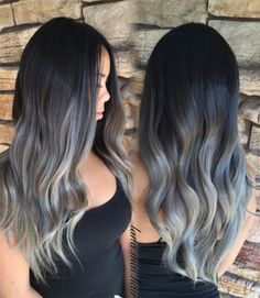 Grey ombre hair natural wave black root