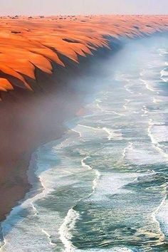 A gorgeous shot of where the Namib Desert meets the Atlantic Ocean.