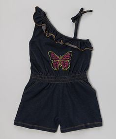 Look at this #zulilyfind! Denim Asymmetrical Tie Romper - Infant, Toddler & Girls by Pink House #zulilyfinds