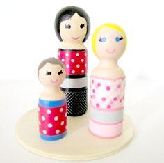 Washi Wooden Peg Dolls by yennybydesign on Etsy