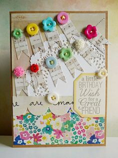 Birthday banners by Mystik Nat Jones Jones alissa Peas in a Bucket Cool Paper Crafts, Button Cards, Birthday Cards, Birthday Banners, Scrapbook Cards, Scrapbooking Ideas, Card Making Inspiration, Pretty Cards, Card Sketches