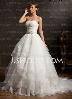 Wedding Dresses - $212.99 - Ball-Gown Sweetheart Chapel Train Organza Wedding Dress With Ruffle Lace Sashes Sequins (002015163) http://jjshouse.com/Ball-Gown-Sweetheart-Chapel-Train-Organza-Wedding-Dress-With-Ruffle-Lace-Sashes-Sequins-002015163-g15163