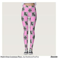 Pink & Grey Louisiana Fleur De Lis Pattern Tights The fleur de lis goes together with the state of Louisiana like rice and gravy! Represent the Bayou State with pride with this fun set of tights. Fun design features a checked pink and black pattern with fleur-de-lis and the southern state. This design is available on a number of other items. See all our Cajun and Louisiana items in our themed store.