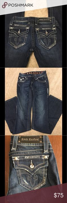 26 Rock Revival Silver Embroidered Jeans 26W Rock Revival Jeans. Rhinestones on front and back. Silver embroidered. Distressing on denim. Boot cut. These can really be dressed up for a night out! Excellent used condition. Washed inside out and hang dried. Smoke free home. Rock Revival Jeans Boot Cut