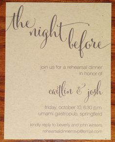 Wedding Rehearsal Dinner Invitations Rustic by VeronicaFoleyDesign