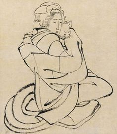 Katsushika Hokusai(葛飾北斎 Japanese, 1760-1849) - Lady Holding a Cat, 1810s - Ink on paper