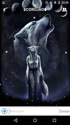 She looked into the sky and her heart fluttered seeing the wolf she turned into every night or rather what she transformed out of every morning. God, I would love to be a wolf! Anime Wolf, Artwork Lobo, Wolf Artwork, Wolf Love, Fantasy Wolf, Fantasy Art, Wolf Spirit Animal, Wolf Wallpaper, Wolf Pictures
