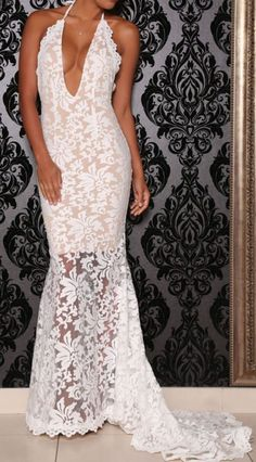 White Gown Lace With Long Back Tail