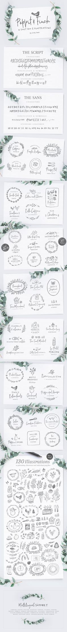Poppit & Finch Fonts & Illustrations by Nicky Laatz