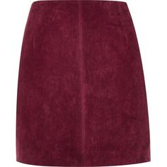 River Island Dark red suede mini skirt (3.460 RUB) ❤ liked on Polyvore featuring skirts, mini skirts, red, a line mini skirt, short skirts, purple a line skirt, purple mini skirt and a-line skirts