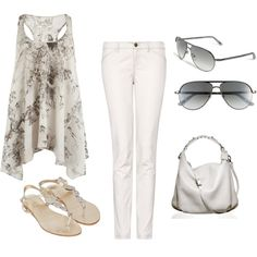 Casual White Party combo, created by lauramayes on Polyvore