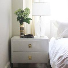 Gray Nightstand, Transitional, bedroom, Elizabeth Sullivan Design
