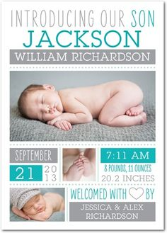 1 photo, 2 photo, 3 to 5 photos Baby Boy Birth Announcements & Boy Photo Announcements by Tiny Prints | 6photo