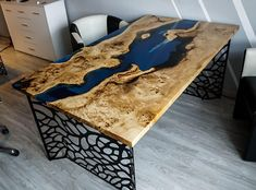 SOLD Blue river table with epoxy inlay Mappa Burl SOLD image 1 Diy Resin Table, Resin Countertops, Unique Desks, Do It Yourself Furniture, Resin Furniture, Wordpress, Wood Projects, Etsy, Wooden Pallets