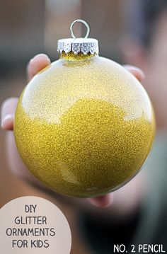 Make these kid-friendly glitter ornaments using washable Mod Podge for kids.