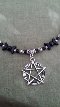 Moon Phase Pentacle Pentagram Necklace. Pagan Wiccan by AradiaHare