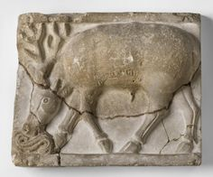 Stag Drinking- Excavated at or near Damghan, Iran, Asia Period: Sasanian Dynasty (226-641)  Mid- 6th century Medium: Stucco
