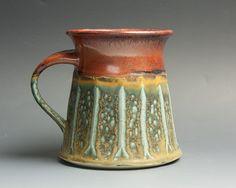 Handmade stoneware coffee mug teacup brick red by BlueParrotPots