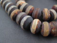 Striped Rondelle Tibetan Agate Beads (7x11mm)
