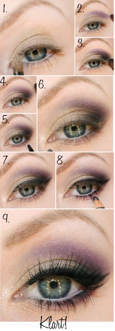 purple & gold makeup step by step