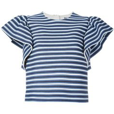 MSGM ruffled sleeves striped blouse ($395) ❤ liked on Polyvore featuring tops, blouses, blue, blue top, ruffle sleeve blouse, patterned tops, blue striped blouse and flutter sleeve blouse