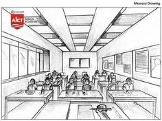 You are an invigilator standing inside the examination hall. There are few students in the class. Perspective Drawing Lessons, Perspective Sketch, Point Perspective, Composition Drawing, Shading Drawing, Life Drawing Classes, Drawing Skills, Elementary Drawing, Architecture Drawing Sketchbooks