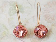 Rose Peach Earrings Rose Gold Earrings Peach by ArtistInJewelry