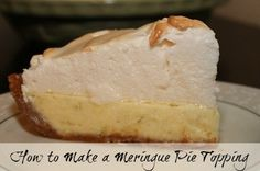 How to make a meringue pie topping - recipe and tutorial http://www.livingafrugallife.com/frugal-chicken-pot-pie-family-recipe/