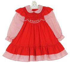 Polly Flinders Red Smocked Pinafore Style Dress with Red Striped Sleeves and Ruffle $50.00 #PollyFlindersSmockedDresses #PollyFlindersChristmasDress