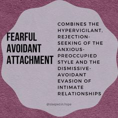 Learn about insecure attachment styles. In this post we're talking about fearful avoidant attachment, what it looks like and how it shows up in relationships. Mental Health Journal, Mental And Emotional Health, Emotional Healing, Relationship Therapy, Relationships, Avoidant Personality, Attachment Theory, Anxious, Counseling