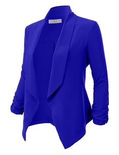ec3dbccfdef9d LE3NO Womens Lightweight Ruched 3 4 Sleeve Open Front Blazer Jacket  Business Attire