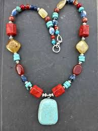 Image result for yellow turquoise lapis necklace