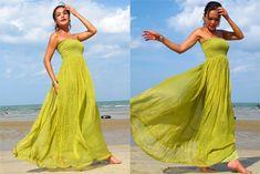 Olive green silk chiffon Strapless  Beach evening long maxi Sun dress