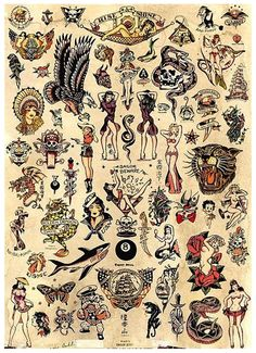 Sailor Jerry Flash Sheet Poster #Sailor Jerry, #Tattoo, #Flash Sheet