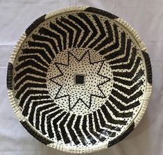 "Wicker woven basket /large ungo basket Bowl / Woven Bowl / African baskets/ Wall basket / bohemian home / Home Decor , blue mood decor/ 16"""