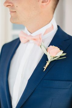 peach boutonniere - photo by Julia Kaptelova… Blue Suit Wedding, Wedding Men, Wedding Groom, Wedding Suits, Wedding Attire, Wedding Colors, Dream Wedding, Wedding Blog, Destination Wedding
