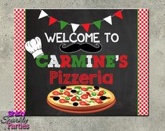 Printable Pizza Party Welcome Sign (Digital File Only)