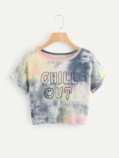 Shop Slogan Print Water Color Crop Tee at ROMWE, discover more fashion styles online. Kids Outfits Girls, Cute Girl Outfits, Teenager Outfits, Shirts For Girls, Cool Outfits, Casual Outfits, Tie Dye Shirts, Crop Top Shirts, Cute Shirts