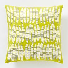 yellow and white deco pattern crewel pillow cover from west elm