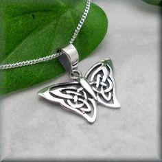 Butterfly Necklace Sterling Silver Celtic Knot by BonnyJewelry, $20.00