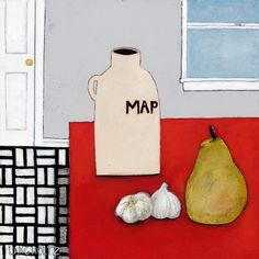 An Unlikely Pear, 12x12, Acrylic and Charcoal Pencil on Canvas 2015 Gabe Langholtz