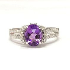 Oval Purple Amethyst Engagement Ring Pave Diamond Wedding 14K White Gold,6x8mm - Lord of Gem Rings - 5