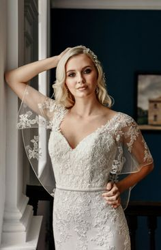 Boho Goddess wedding dress with a chic, vintage twist. Lace appliqués & sheer cape sleeves complete this ethereal bridal gown. True Bride, Cape Dress, Perfect Wedding Dress, Dream Wedding, Satin Dresses, Designer Wedding Dresses, Boho Dress, Bridal Gowns, Carlisle