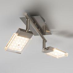 Spot Robo 2 LED stahl: Moderner Materialwahl kombiniert mit ebenso modernen Spezifikationen. Das elegante Design wird ergänzt mit zwei Energie-effiziente LED-Module und ist aus Edelstahl, Glas gefertigt. #deckenbeleuchtung #innenbeleuchtung #licht #lampe #Briloner