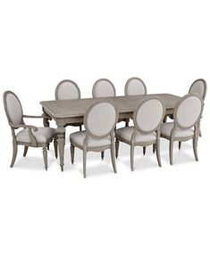 Elina Expandable Dining Furniture, Set (Dining Table, 6 Upholstered Side Chairs & 2 Upholstered Arm Chairs), Created for Macy's French Country Dining, Country Dining Rooms, Dining Room Sets, Dining Room Design, Expandable Dining Table, Trestle Dining Tables, Dining Chairs, Plywood Furniture, Dining Furniture