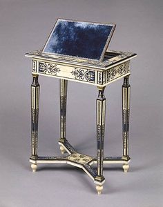 1670-1675 French Reading and writing table (shown open) at the J. Paul Getty Museum, Los Angeles - Because of this piece's blue and white colouring, the curators believe it was made for the Trianon de Porcelaine, which was built by King Louis XIV for his then-mistress, Madame de Montespan, on the grounds of Versailles and shared a similar colour scheme.