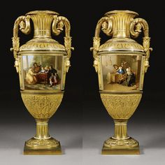 A PAIR OF IMPERIAL PORCELAIN PALACE VASES, IMPERIAL PORCELAIN MANUFACTORY, PERIOD OF NICHOLAS I (1825-1855), DATED 1842
